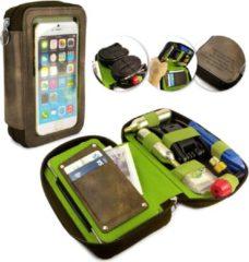 Questcontrol Tuff-Luv - Velo Etui 31 - Lederen fiets tas - Compatibel met alle 4.3 - 5.5 Inch telefoons - Bruin
