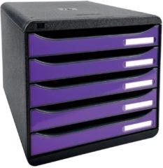 Exacompta Big-Box Ladenkastje 5 lades Big Box Plus Zwart paars 27 8 x 34 7 x 27 1 cm