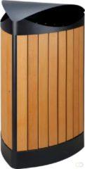 V-part - V-part Driehoekige buitenafvalbak houtlook, zwart