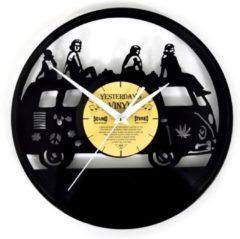 Zwarte Yesterdays Vinyl Vinyl klok hippie bus – lp wandklok - 30 CM