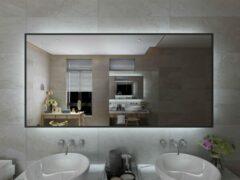 Viidako Badkamerspiegel met LED verlichting - Anti Condens - 3 LED Standen - Met Klok - Mat Zwart