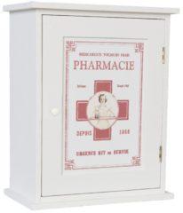 Rode Clayre & Eef Medicijn kastje - 24*13*30 cm - wit - mdf - rechthoekig - pharmacie - Clayre & Eef - 6H0372