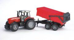 Rode Bruder 02045 - Massey Ferguson 7480 tractor met aanhanger