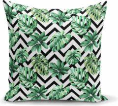 Zijou Sierkussen zigzag groene palmbladen uniek ontwerp - Kussens woonkamer - Binnen of Buiten decoratie sierkussens - afmeting 45x45cm