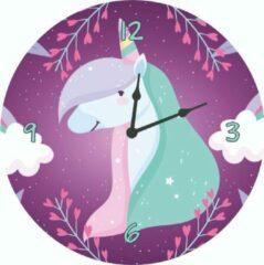 Merkloos / Sans marque Kinderklok eenhoorn/unicorn, wolken, bloemen paars   STIL UURWERK   wandklok van hout voor kinderkamer en babykamer - decoratie accessoires - meisjes slaapkamer
