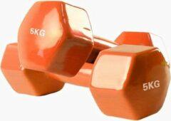 Foxfit Dumbbell set - 2 x 5kg - Rubber - Oranje