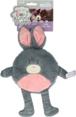 Bunny Puppy Flat Rabbit - Hondenspeelgoed - 35x17x3 cm Grijs Roze