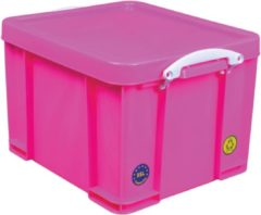 Really Useful Box opbergdoos 35 liter, neon roze met witte handvaten