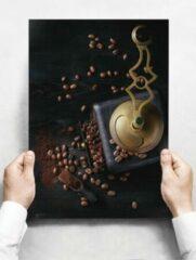 Witte Creatief Art Wandbord: Gemalen koffiebonen met een vintage maler - 30 x 42 cm