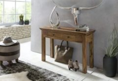 Wohnling Konsolentisch MUMBAI Massivholz Sheesham Konsole mit 2 Schubladen Schreibtisch 110 x 40 cm Landhaus-Stil Sideboard
