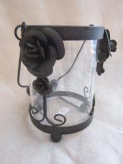 ZoeZo Design Waxinelichthouder, glas met zwart metaal. 14 x 13 cm Ø