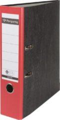 Rode Pergamy ordner, voor ft A4, uit karton, rug van 8 cm, gewolkt rood