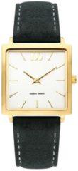 Gouden Danish Design watches edelstalen dameshorloge Miami Gold Black Suede IV11Q1248