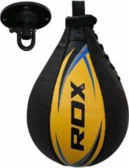 Witte RDX Sports RDX Bokstraining lederen Speedbal | Speed Bag - Zwart - Geel