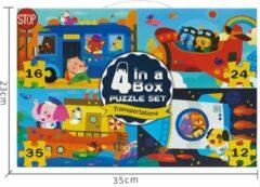 Vikids MiDeer - extra grote 4 in 1 puzzel - 12 + 16 + 24 + 35 puzzelstukjes - Vervoer & Dier: - Bus - Vliegtuig - Schip - Raket - kinderpuzzel - educatief speelgoed voor kinderen