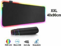 Zwarte Beactiff Muismat Gaming XXL RGB LED 90x40cm bureau onderlegger | RGB Gaming Muismat | Mousepad | Pro RGB LED Muismat XXL | Anti-slip | Desktop Mat | LED | Computer Mat