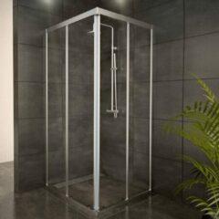 Adema Glass douchecabine 80x80x185cm 2 schuifdeuren chroom profiel en helder glas