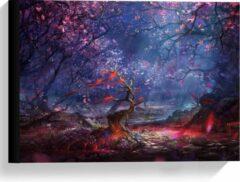 Paarse KuijsFotoprint Canvas - Fantasie Bos - 40x30cm Foto op Canvas Schilderij (Wanddecoratie op Canvas)