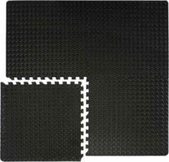 Zwarte Eyepower 4 vloermatten elk 63x63cm incl. 8 eindstroken, elk met 4 vloermatten Training matten