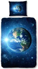 Donkerblauwe Good Morning Earth - Dekbedovertrek - Eenpersoons - 140x200/220 cm + 1 kussensloop 60x70 cm - Blauw