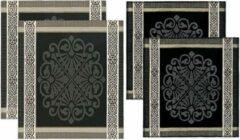 Grijze DDDDD Keukendoeken En Theedoeken Set - Rozet Grey - 2 + 2 stuks