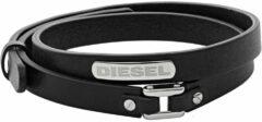 Diesel DX0971040 Armband leder/staal zwart-zilverkleurig 8-19,5 cm