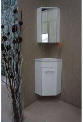 Witte Praya Lena hoek fonteinkast met wastafel met 1 kraangat en spiegelkast 50x85x25cm wit 38.3805