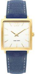 Gouden Danish Design watches edelstalen dameshorloge Miami Gold Royal Blue Suede IV21Q1248