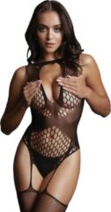 Zwarte Shots - Le Désir Le Desir – Contrast Suspender Bodystocking – Black – One Size