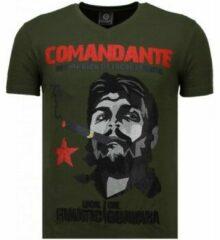 Groene T-shirt Korte Mouw Local Fanatic Che Guevara Comandante - Rhinestone T-shirt