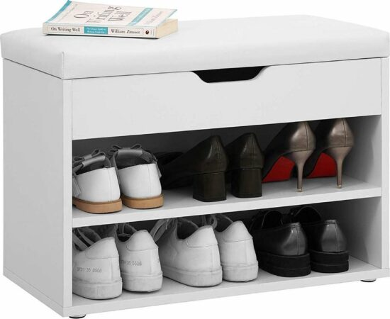 Afbeelding van Acaza Bank om Schoenen op te Bergen met Comfortabele Zitting - 60cm breed en 44cm hoog - Wit