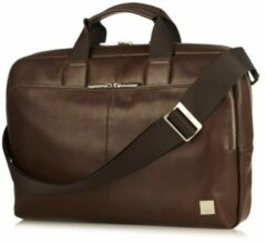 Bruine Laptoptas Knomo Newbury Leather Briefcase 15 inch