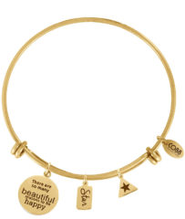 Goudkleurige CO88 Collection 8CB-13008 - Stalen bangle met bedels - affirmaties star en ster - one-size - goudkleurig