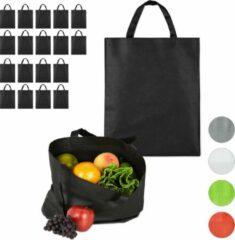 Relaxdays 20 x boodschappentas - stoffen tas - effen gekleurd opvouwbaar - 50x40 - zwart