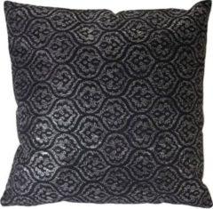 Heute-wohnen Deko-Kissen Barock, Sofakissen Zierkissen mit Füllung, schwarz Glanz-Effekt 45x45cm