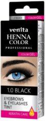 Venita HENNA COLOR Professional Wimperverf en Wenkbrauwverf Color Gel Keratin Care Black / Zwart 1.0 15g (15Behandelingen)