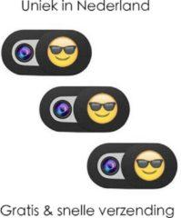 Merkloos / Sans marque ORIGINELE Universele Webcam cover – Unieke webcam schuifjes in Nederland met Emoji - 3 stuks zwart – Webcamcover – Privacy beschermer - BESTE PRIJS / KWALITEIT – Geschikt voor Tablets, Laptops (Macbooks) en Smartphones