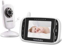 Witte HelloBaby HB32 Babyfoon met camera | 3.2 inch video babyphone | Veilige verbinding | Groot scherm | Terugspreken | Temperatuurcontrole | Slaapliedjes | Nachtzicht | Zoomfunctie