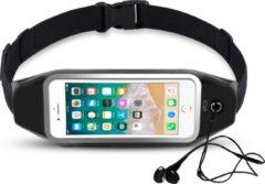 Zwarte Sportband Heupband Running Belt iCall – Hardloopband Sportband Riem met Smartphone Houder – Universeel voor alle telefoons onder andere Apple iPhone 8 / 7 / 6 / 5 en Samsung Galaxy J5 (2017) / J3 / J7