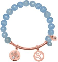 CO88 Collection 8CB-50004 - Rekarmband met natuurstenen, stalen bar en bedels - aquamarijn 8 mm - zirkonia vlinder en open vlinder - one-size - blauw / rosékleurig