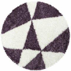 TANGO SHAGGY Himalaya Maxima Soft Shaggy Rond Hoogpolig Vloerkleed Paars / Wit- 160 CM ROND