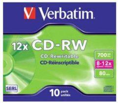 Verbatim 43148 CD-RW disc 700 MB 10 stuk(s) Jewelcase Herschrijfbaar