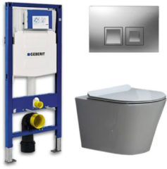 Douche Concurrent Geberit UP 100 Toiletset - Inbouw WC Hangtoilet Wandcloset- Flatline Saturna Delta 50 Mat Chroom