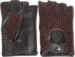 SWIFT Vintage vingerloze crochet leren handschoenen zwart-bruin | Maat XS