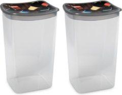 Hega hogar 2x Koffiecups plastic bewaarbakjes transparant/grijs - 1,9 liter - 13 x 11 x 19 cm - Bewaarbakjes/voorraadbakjes