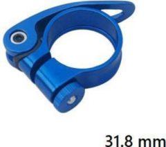 MTB Cycling 31,8mm Quick release zadelklem met lever voor 27.7 tot 28,6mm zadelpen - Blauw