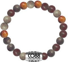 Grijze CO88 Collection Elemental 8CB 17024 Rekarmband met Stalen Element - Jaspis Natuursteen 6 mm - One-size - Bruin
