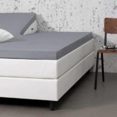 Witte Fresh & cold Comfort Split- Topper Hoeslaken - Lichtgrijs - 200x200 cm - Jersey Stretch - Fresh & Co