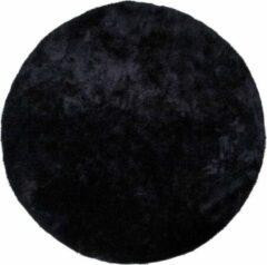 Hioshop Flagstaf vloerkleed rond Ø120 cm zwart.