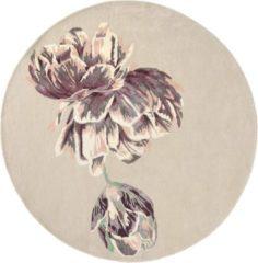 Ted Baker - Tranquility Beige 56001 Vloerkleed - 200 cm rond - Rond - Laagpolig Tapijt - Klassiek, Landelijk - Beige, Paars